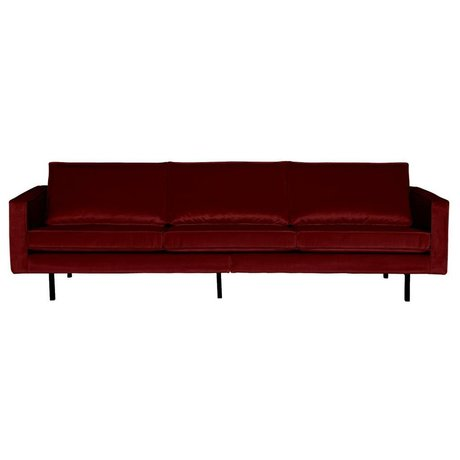 BePureHome Canapé Rodeo 3 places velours rouge 85x277x86cm