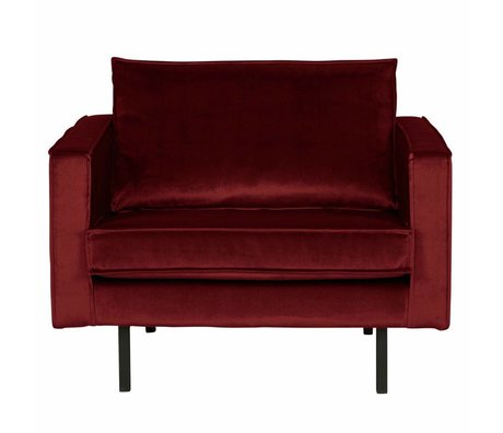 BePureHome Fauteuil Rodeo velours rouge 105x86x85cm
