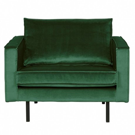 BePureHome Sillón Rodeo Green Forest terciopelo verde 105x86x85cm
