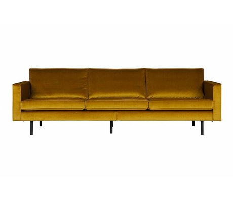 BePureHome Canapé Rodeo 3 places velours ocre jaune 85x277x86cm