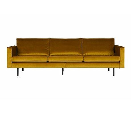 BePureHome Sofa Rodeo 3-sæders oker gul fløjl 85x277x86cm