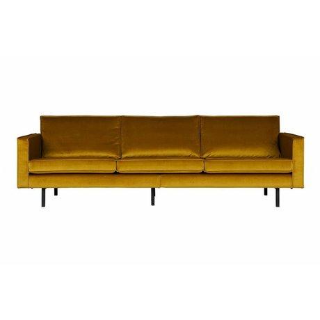 BePureHome Divano Rodeo velluto giallo ocra 3 posti 85x277x86 cm