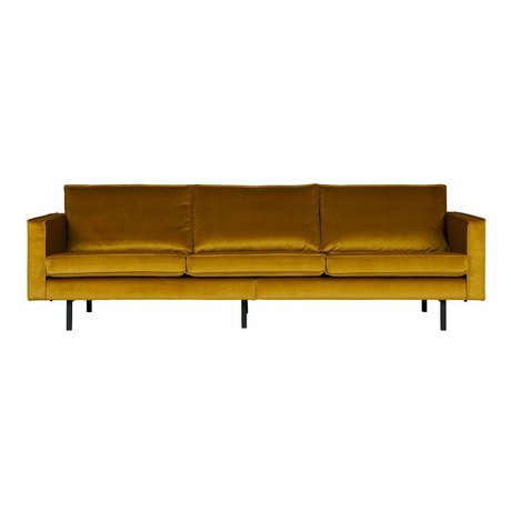 BePureHome Sofa Rodeo 3-Sitzer ocker-gelb Samt 85x277x86cm