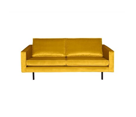 BePureHome Sofa Rodeo 2.5-seater ocher-yellow velvet 190x86x85cm
