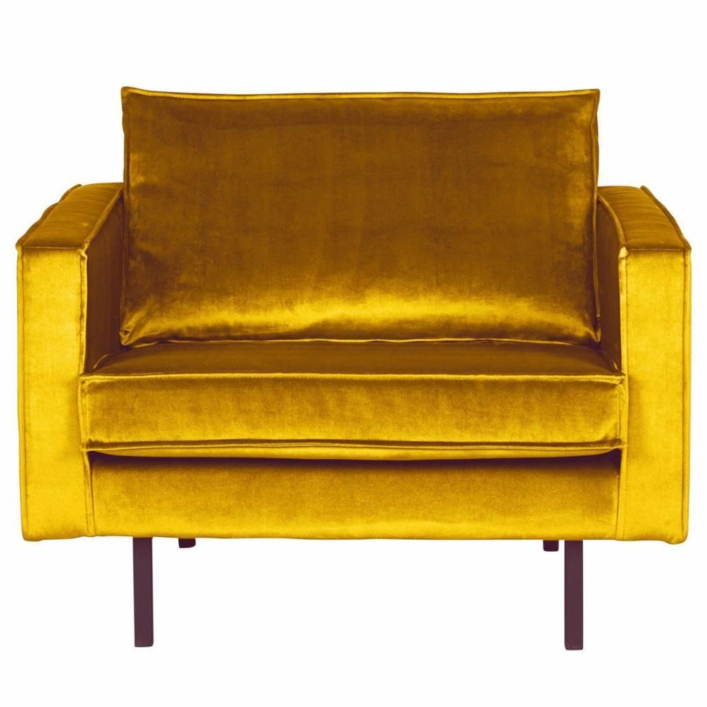 Armchair Rodeo ocher-yellow velvet 105x86x85cm - lefliving.com
