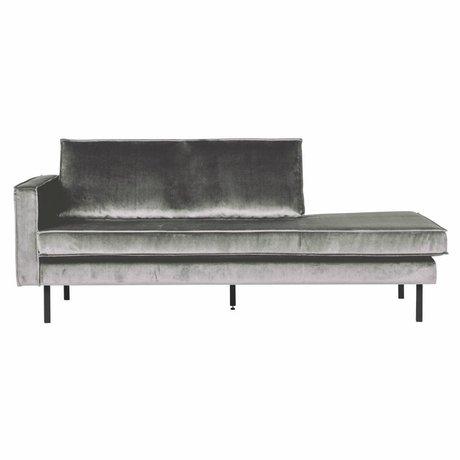 BePureHome Sofa Daybed links mittelgrau Samt 203x86x85cm