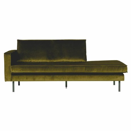 BePureHome Sofa Daybed links olivgrün Samt 203x86x85cm