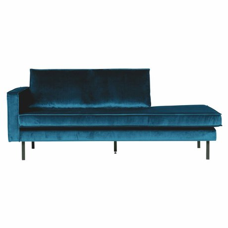BePureHome Canapé Daybed gauche velours bleu 203x86x85cm