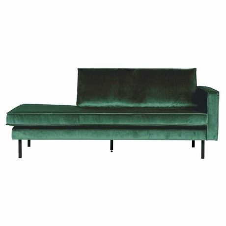 BePureHome Canapé Daybed droite vert forêt vert velours 203x86x85cm
