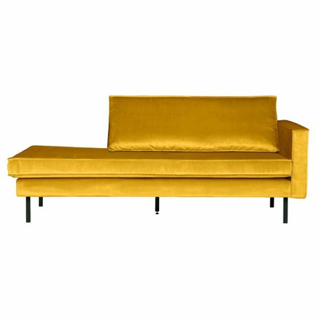 BePureHome Sofa daybed right ocher-yellow velvet 203x86x85cm