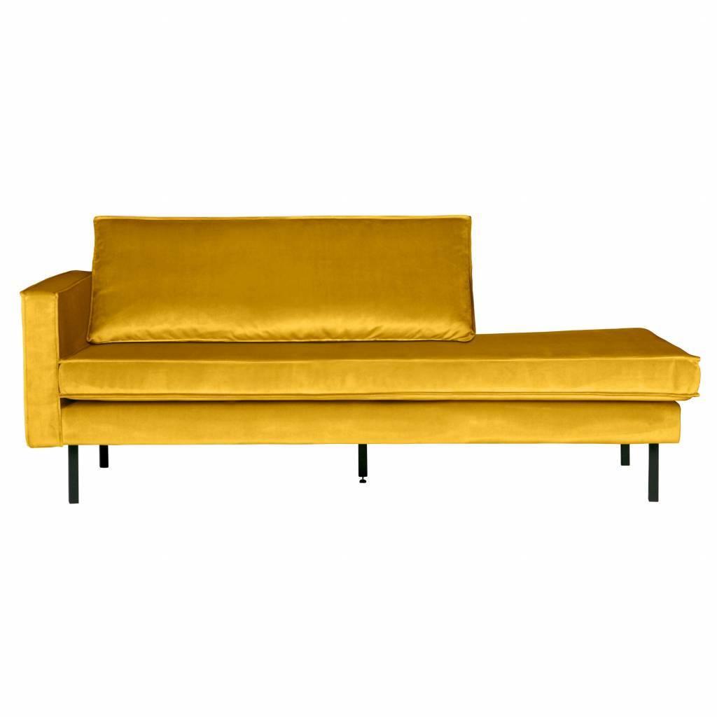 Bank Daybed Left Ocher Yellow Velvet Velvet 203x86x85cm Lefliving Com