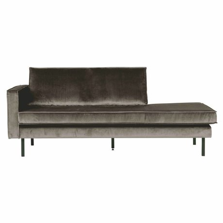 BePureHome Canapé Daybed gauche velours brun taupe 203x86x85cm