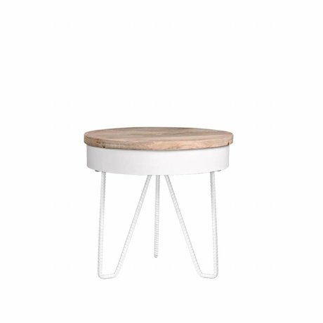 LEF collections Side table Saran white metal wood 44x44x43cm