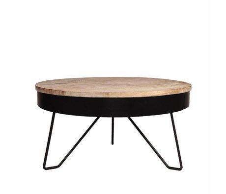 LEF collections Living room table Saran black metal wood 80x80x43cm