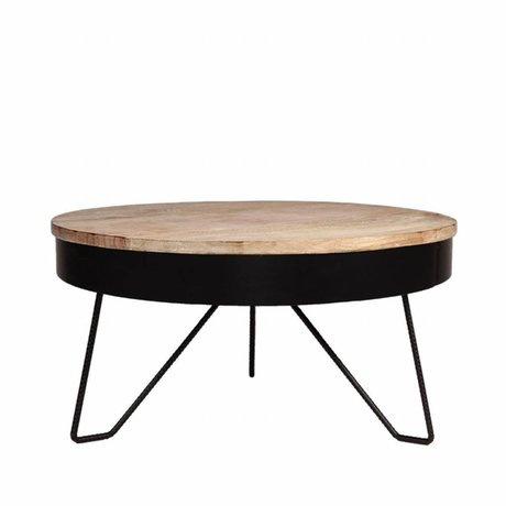 LEF collections Mesa de sala de estar Saran black metal wood 80x80x43cm