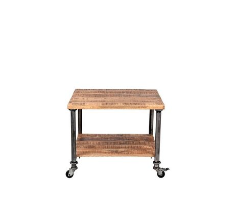 LEF collections Table d'appoint métal Flex bois brun 60x60x45cm