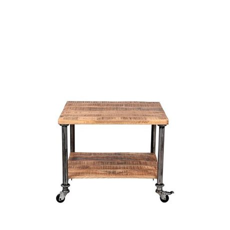 LEF collections Side table Flex brown wood metal 60x60x45cm
