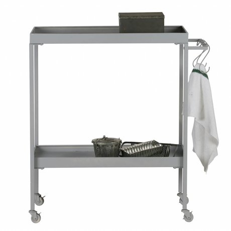 vtwonen Cart Stack-it Low panier de boulanger gris métal 98x90x40cm