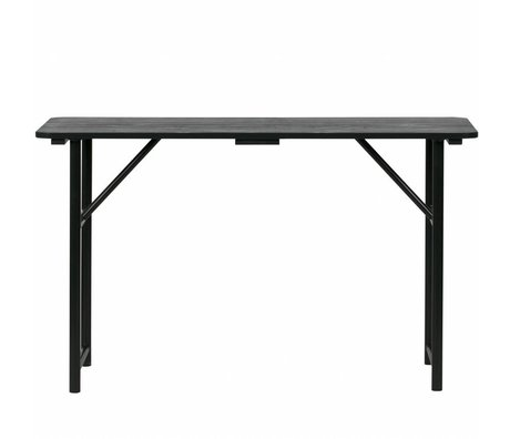 vtwonen Table à rallonges en bois noir métal 75,1x125x48cm