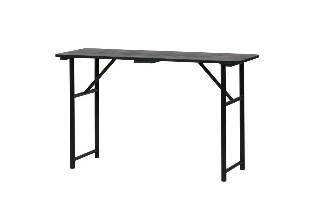 Table à rallonges en bois noir métal 75,1x125x48cm