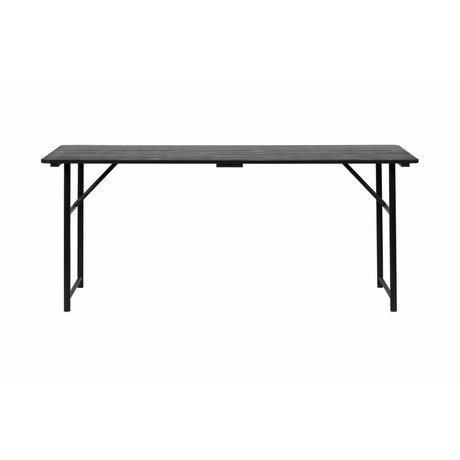 vtwonen Dining table Army black wood metal 75,1x180x80cm