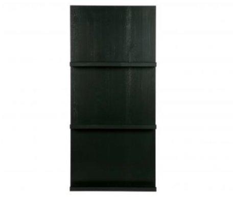 vtwonen Porte-revues suspendu en bois noir 120x56x10cm