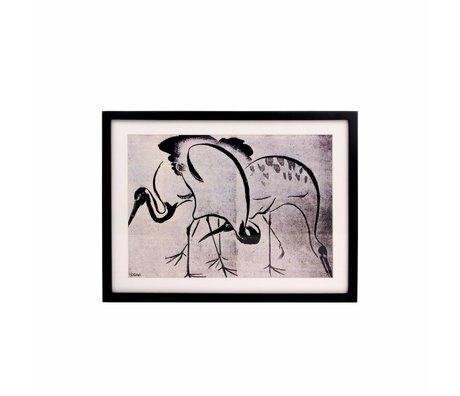 HK-living Kunstdruck Kraniche schwarz weiß 31,5x41,5x2,5cm