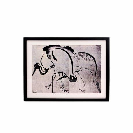HK-living Impression d'art Grues noir blanc 31,5x41,52,5cm