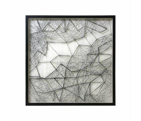 HK-living Kunstrahmen Seilwerk schwarz weiß Seil Metall 90x90x6cm