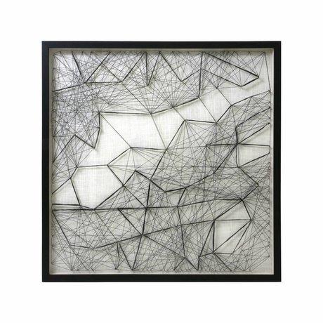 HK-living Art cadre corde travail noir blanc corde métal 90x90x6cm