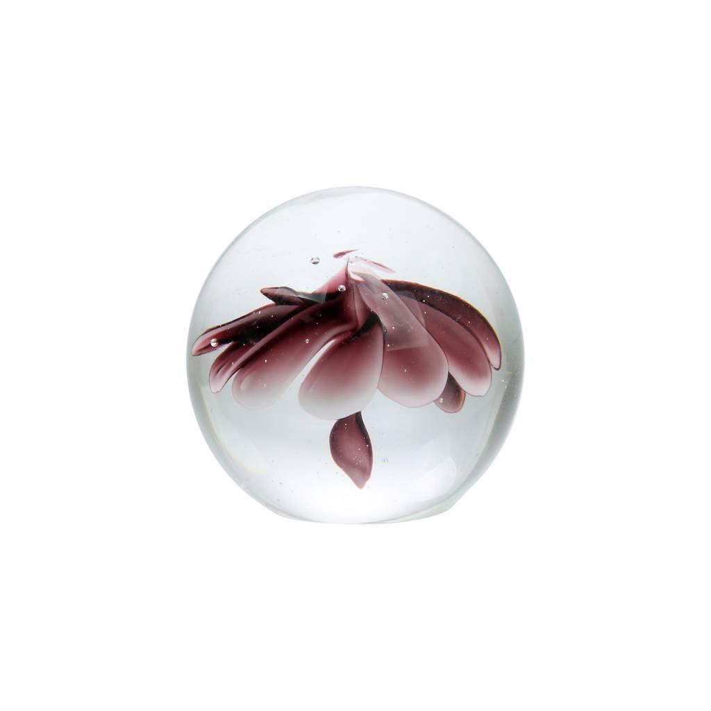 Boule de verre fleur L violet verre 13.5cm