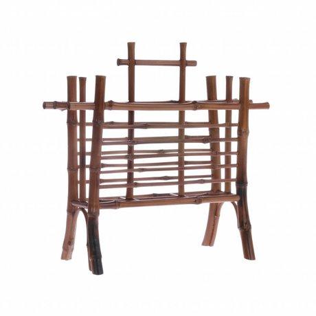 HK-living Portaetiquetas bambú marrón 27,5x11,5x26cm