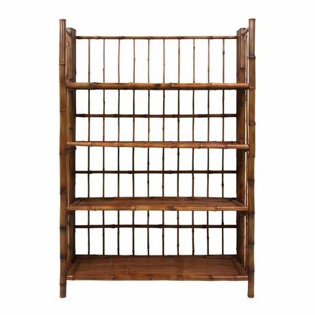 HK-living Foldable shelf brown bamboo 80x25x105cm