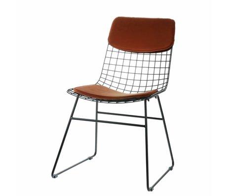 HK-living Komfortset Samt terrakottafarben für Metalldraht-Stuhl