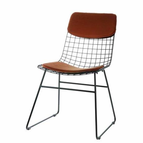 HK-living Comodino in velluto color terracotta per sedia in filo metallico
