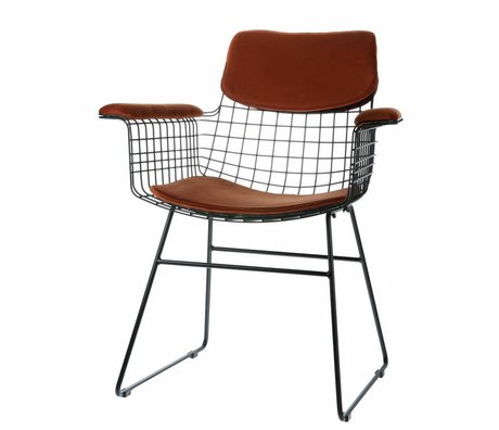 HK-living Komfortset Samt terrakottafarben für Metalldraht-Stuhl mit Armlehne