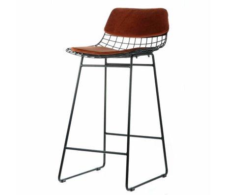 HK-living Comfort set velluto color terracotta per sgabelli da bar in metallo