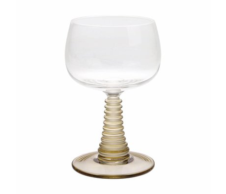 HK-living Copa de vino con pie verde girado 8,5x8,5x13,5cm