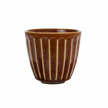 HK-living Tazza Kyoto in ceramica rigata marrone 8,5x8,5x8cm