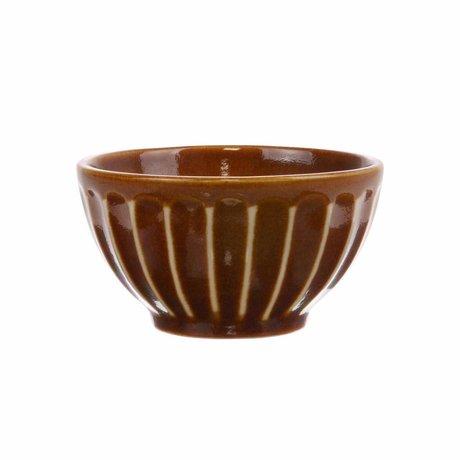 HK-living Bol Kyoto en céramique rayée brune 11x11x6cm