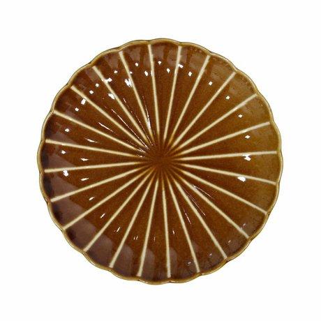 HK-living Assiette à pâtisserie Kyoto marron rayé en céramique 20x20x3cm