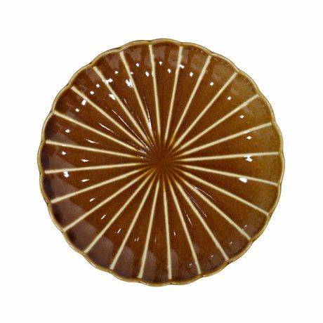 HK-living Pastry plate Kyoto brown striped ceramic 20x20x3cm