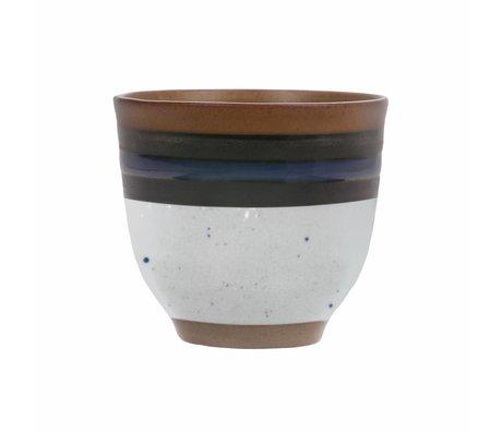 HK-living Mug Kyoto Indigo crème bleue 7.5x7.5x7cm