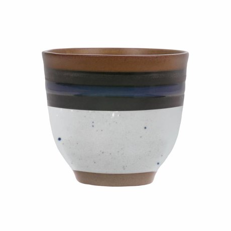 HK-living Mug Kyoto Indigo blue cream 7.5x7.5x7cm