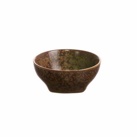 HK-living Tazón de porcelana marrón Kyoto 7,8x7,8x3,5cm