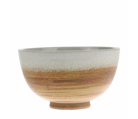 HK-living Ciotola Kyoto in ceramica bianca marrone 10,5x10,5x6,5cm