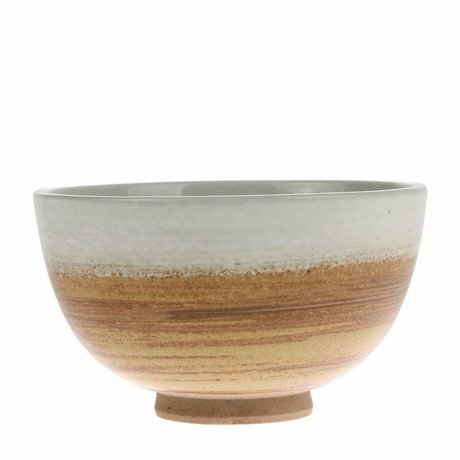 HK-living Bowl Kyoto brown white ceramic 10.5x10.5x6.5cm