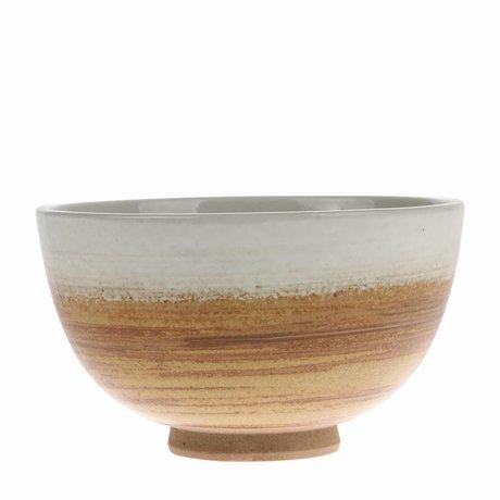 HK-living Bowl Kyoto cerámica blanca marrón 10.5x10.5x6.5cm