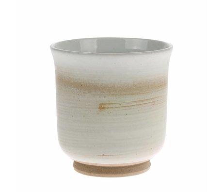 HK-living Taza Kyoto marrón blanco cerámica 8x8x8,5cm