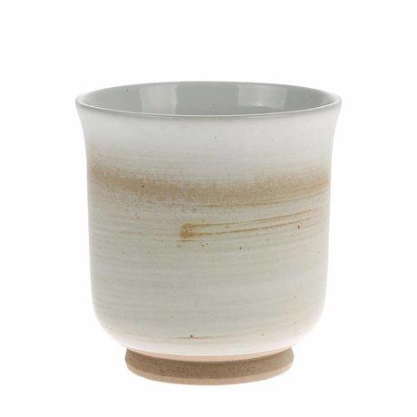 HK-living Tazza Kyoto in ceramica bianca marrone 8x8x8,5cm